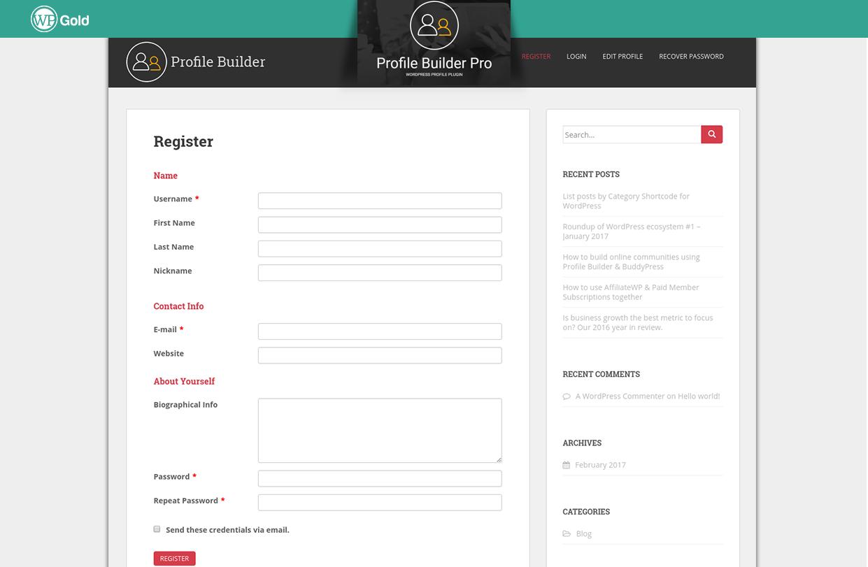 ProfileBuilder регистрация