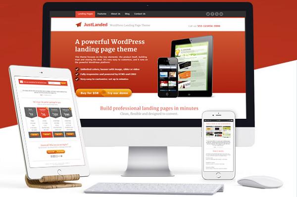 обзор wordpress темы justlanded