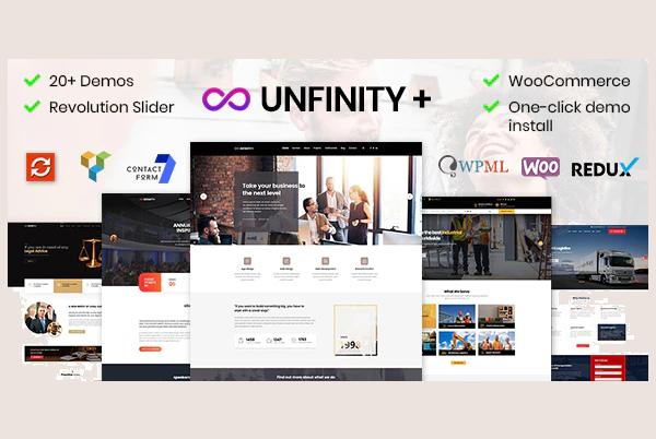 обзор wordpress шаблона unfinity