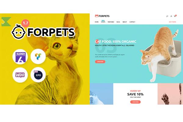 Тема Forpets - интернет-магазин для животных с рейтингом 5 звезд