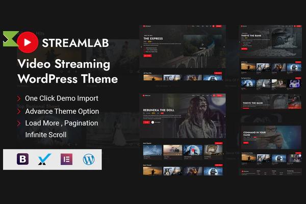 Streamlab - мощная тема WordPress для потокового видеохостинга