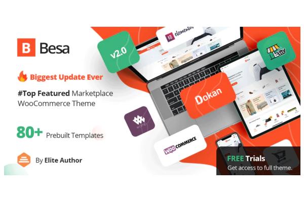 Besa - тема для полноценного маркетплейса на базе Elementor за $29