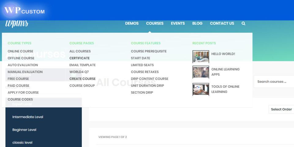 демонстрационный сайт с установленной обучающей темой WPMLS